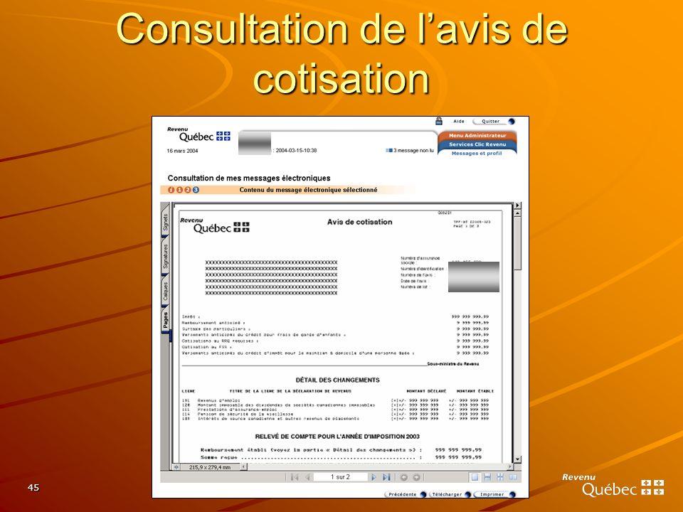 45 Consultation de lavis de cotisation