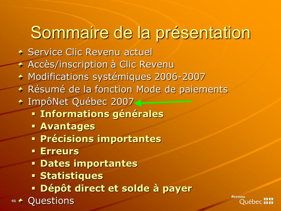 46 Sommaire de la présentation Service Clic Revenu actuel Accès/inscription à Clic Revenu Modifications systémiques 2006-2007 Résumé de la fonction Mo
