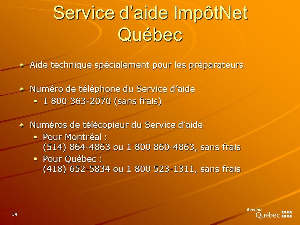 54 Aide technique spécialement pour les préparateurs Numéro de téléphone du Service daide 1 800 363-2070 (sans frais) 1 800 363-2070 (sans frais) Num