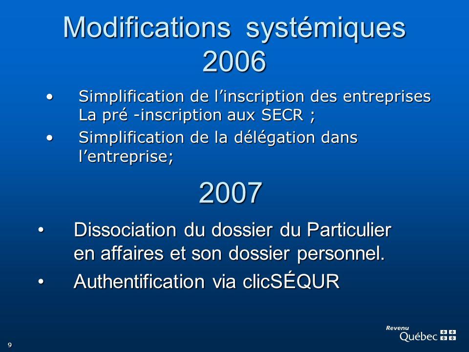 9 Modifications systémiques 2006 Simplification de linscription des entreprises La pré -inscription aux SECR ;Simplification de linscription des entre