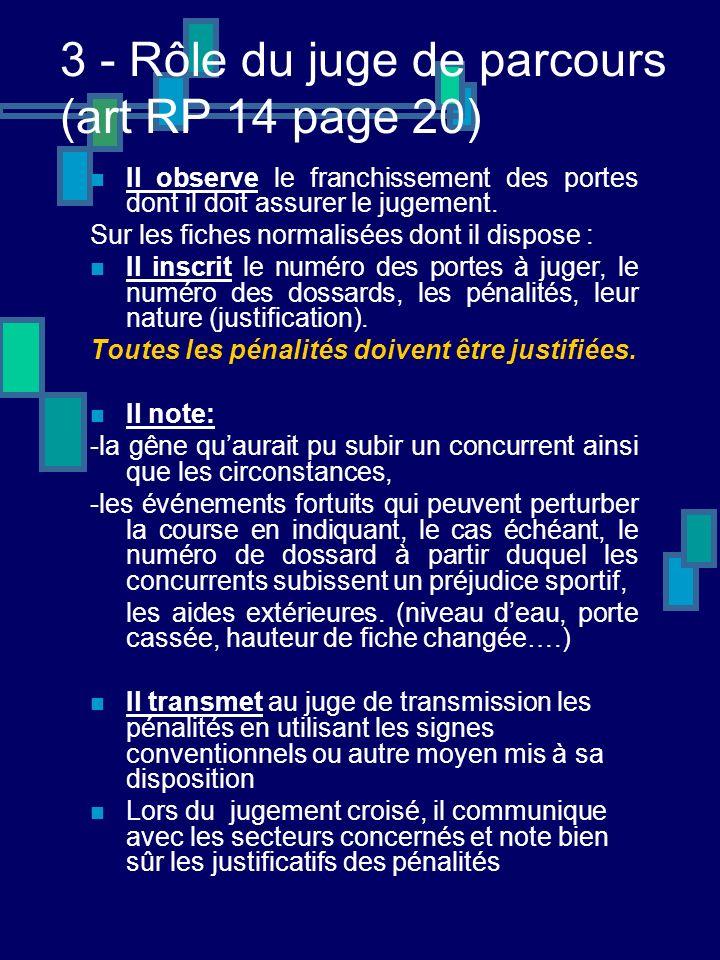 3 - Rôle du juge de parcours (art RP 14 page 20) Il observe le franchissement des portes dont il doit assurer le jugement.