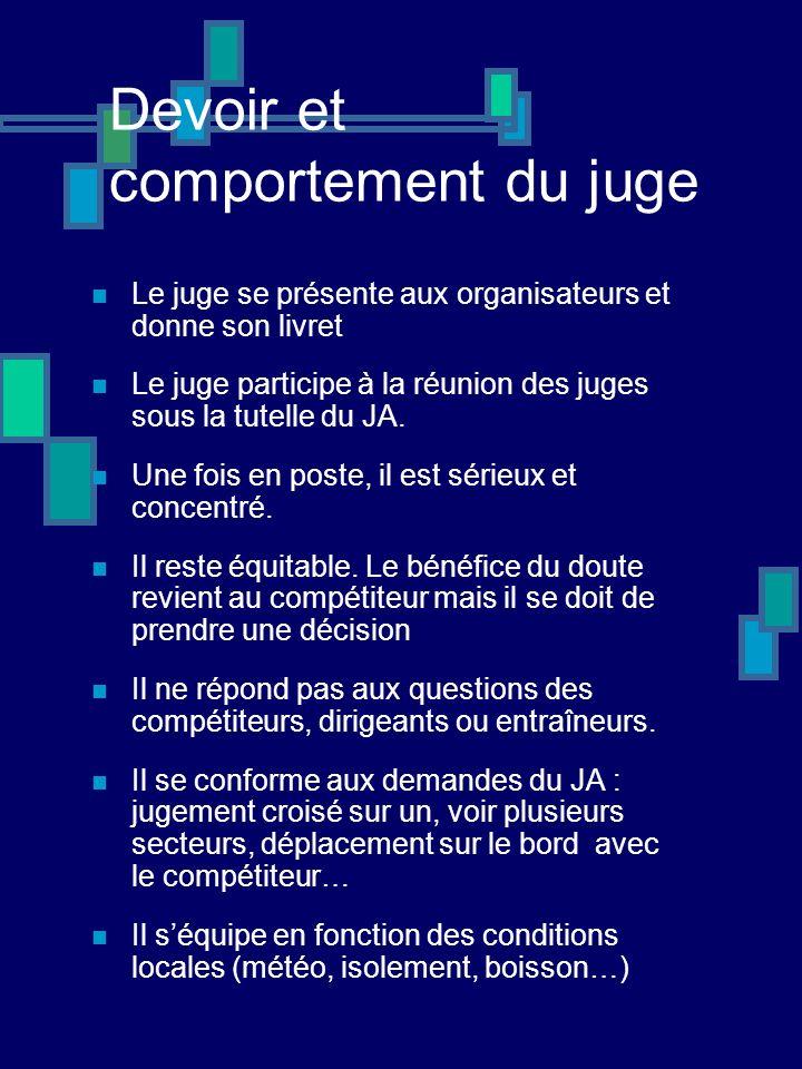 Devoir et comportement du juge Le juge se présente aux organisateurs et donne son livret Le juge participe à la réunion des juges sous la tutelle du JA.