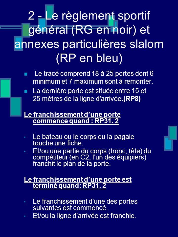 2 - Le règlement sportif général (RG en noir) et annexes particulières slalom (RP en bleu) Le tracé comprend 18 à 25 portes dont 6 minimum et 7 maximum sont à remonter.