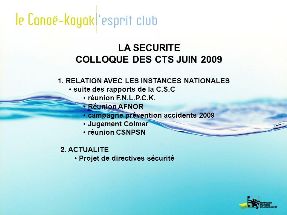 LA SECURITE COLLOQUE DES CTS JUIN 2009 1. RELATION AVEC LES INSTANCES NATIONALES suite des rapports de la C.S.C réunion F.N.L.P.C.K. Réunion AFNOR cam