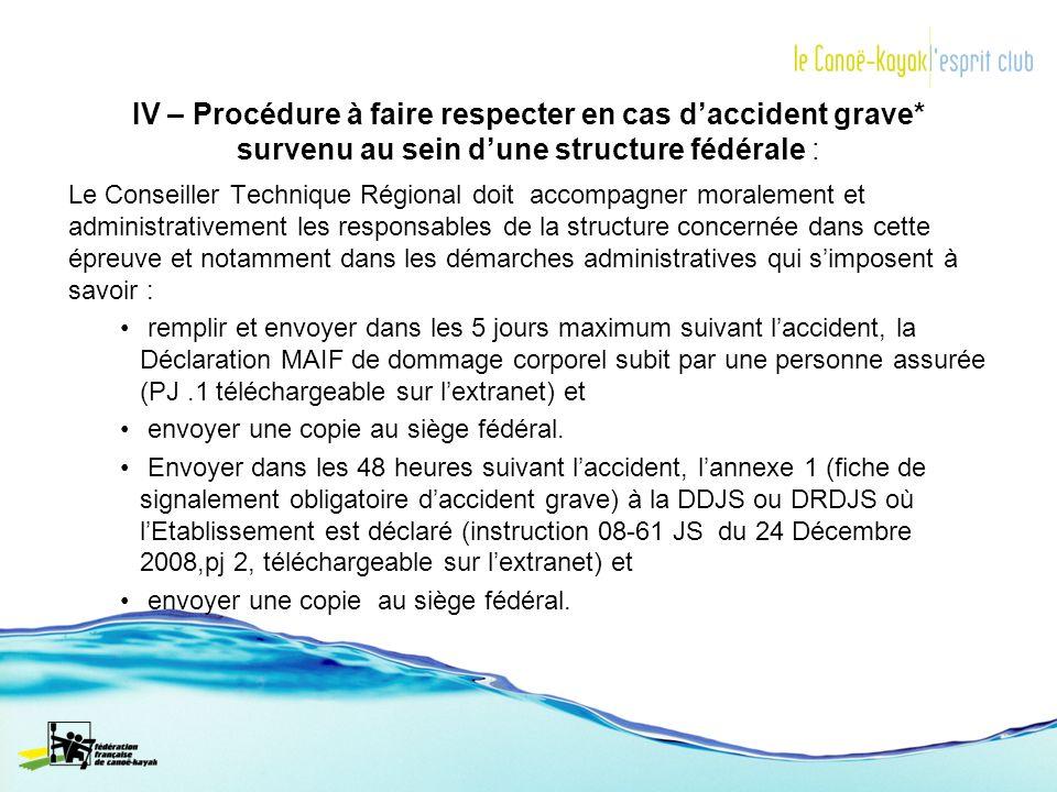 IV – Procédure à faire respecter en cas daccident grave* survenu au sein dune structure fédérale : Le Conseiller Technique Régional doit accompagner m