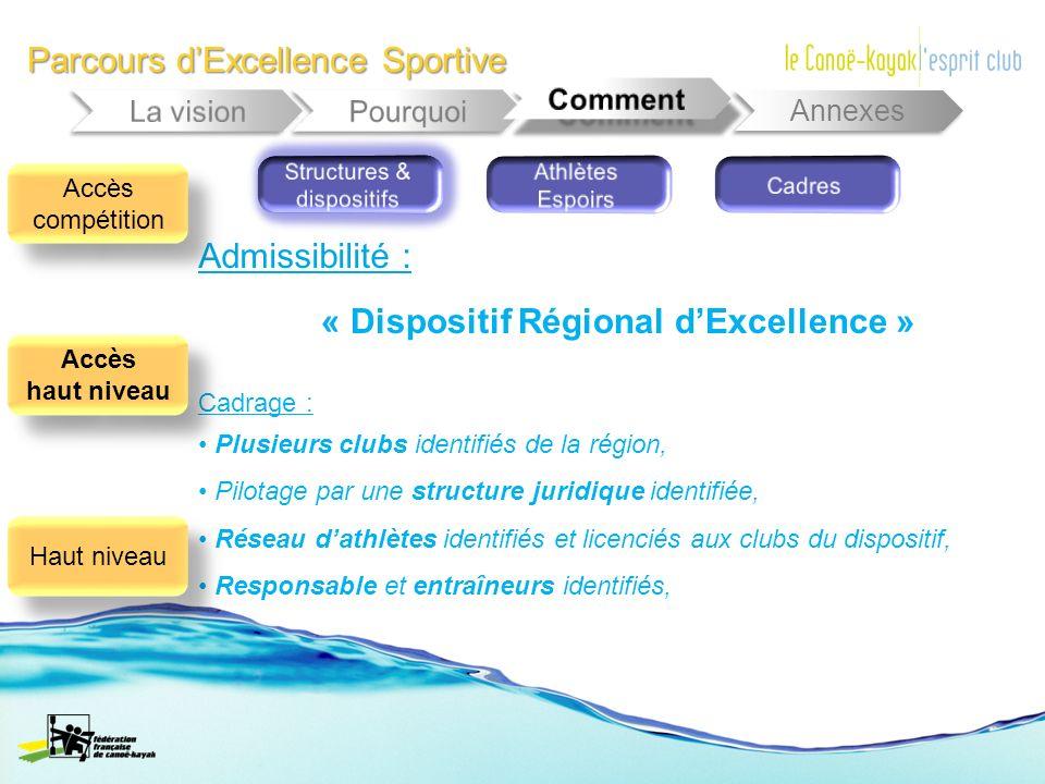 Parcours dExcellence Sportive Annexes « Dispositif Régional dExcellence » Cadrage : Plusieurs clubs identifiés de la région, Pilotage par une structur