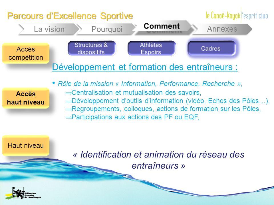Parcours dExcellence Sportive Annexes Développement et formation des entraîneurs : Rôle de la mission « Information, Performance, Recherche », Central