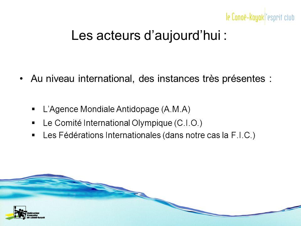 Les acteurs daujourdhui : Au niveau international, des instances très présentes : LAgence Mondiale Antidopage (A.M.A) Le Comité International Olympiqu