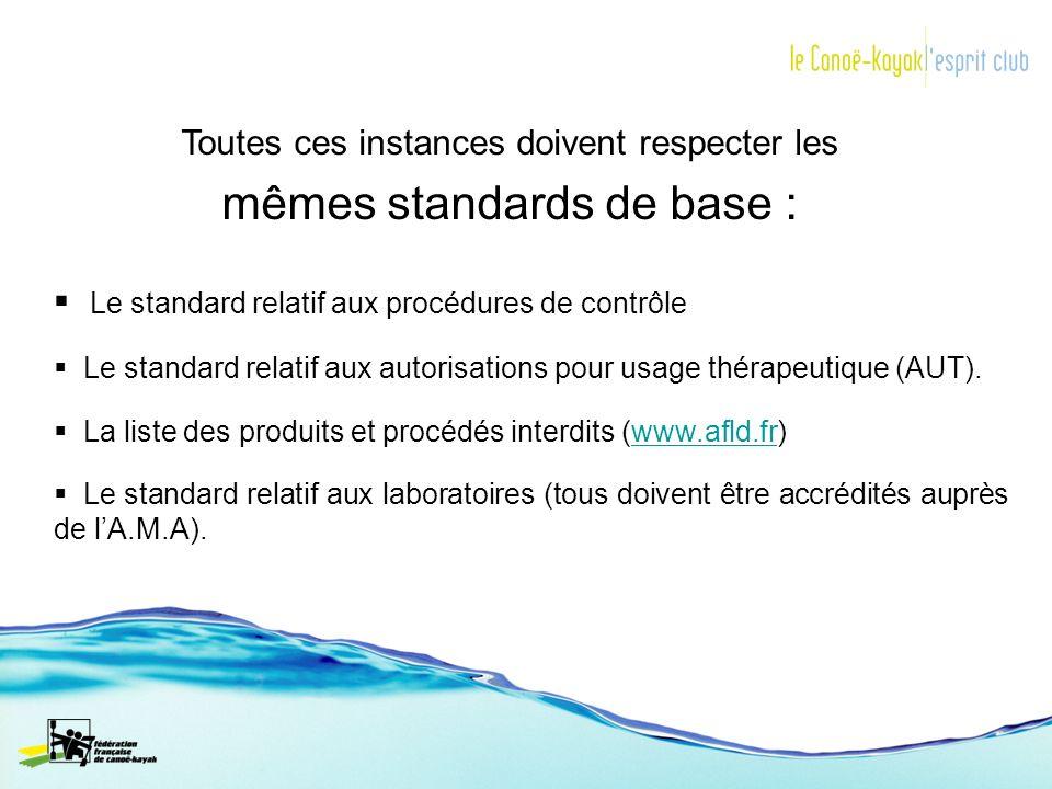 Toutes ces instances doivent respecter les mêmes standards de base : Le standard relatif aux procédures de contrôle Le standard relatif aux autorisati