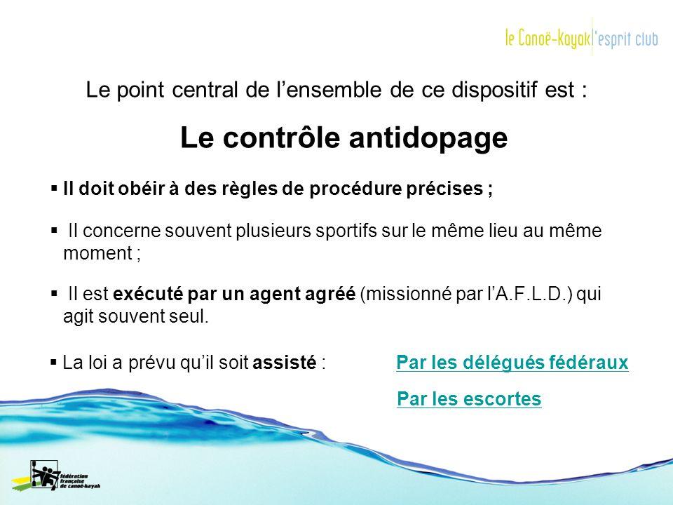 Le point central de lensemble de ce dispositif est : Le contrôle antidopage Il doit obéir à des règles de procédure précises ; Il concerne souvent plu