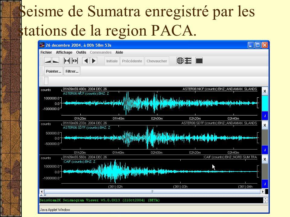 Seisme de Sumatra enregistré par les stations de la region PACA.