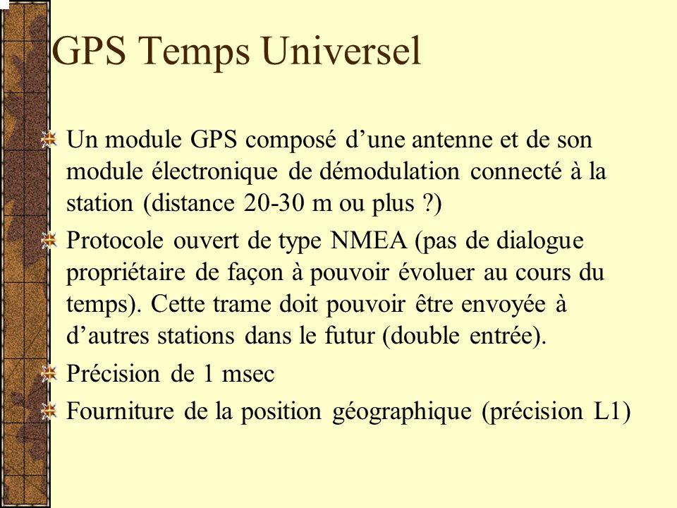 GPS Temps Universel Un module GPS composé dune antenne et de son module électronique de démodulation connecté à la station (distance 20-30 m ou plus ?) Protocole ouvert de type NMEA (pas de dialogue propriétaire de façon à pouvoir évoluer au cours du temps).