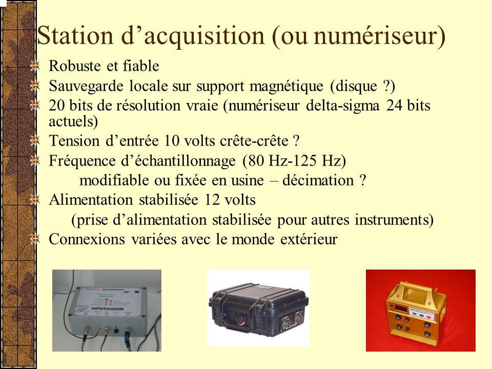 Station dacquisition (ou numériseur) Robuste et fiable Sauvegarde locale sur support magnétique (disque ?) 20 bits de résolution vraie (numériseur delta-sigma 24 bits actuels) Tension dentrée 10 volts crête-crête .