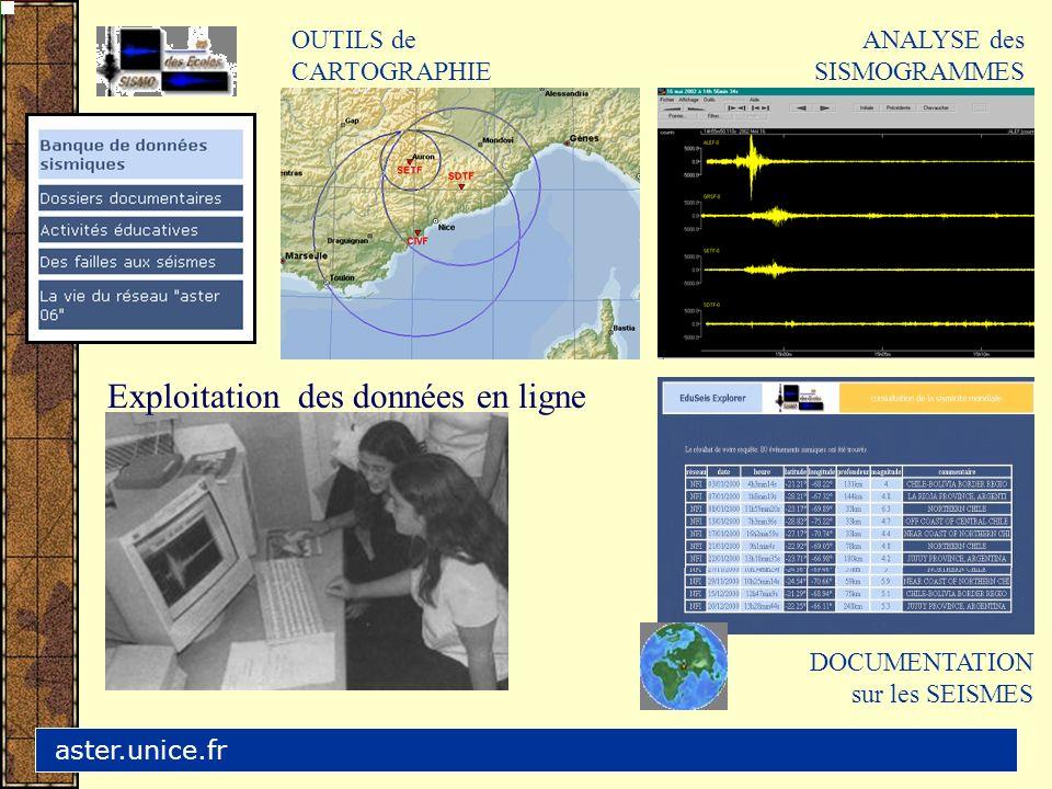 ANALYSE des SISMOGRAMMES DOCUMENTATION sur les SEISMES OUTILS de CARTOGRAPHIE aster.unice.fr Exploitation des données en ligne
