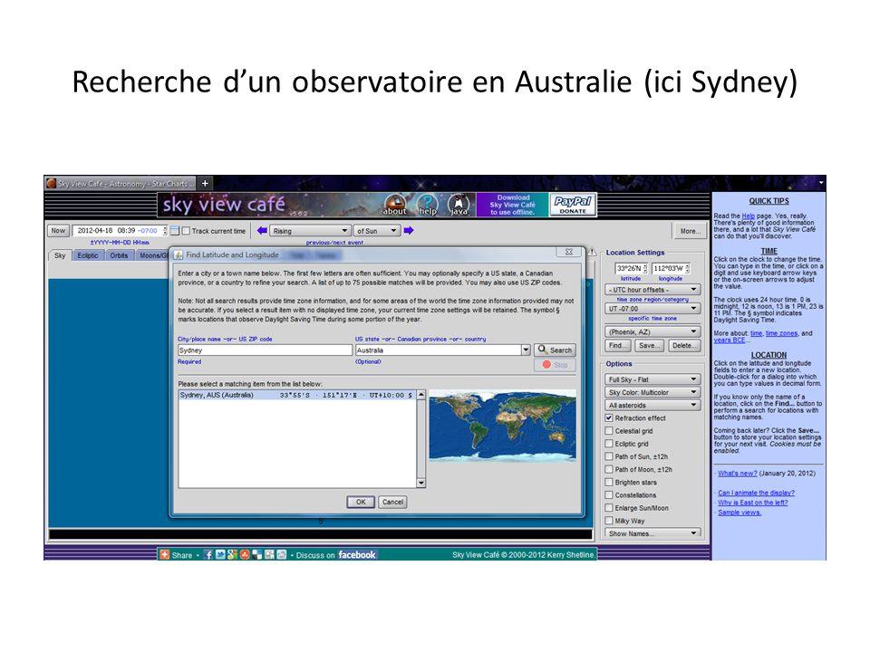 Recherche dun observatoire en Australie (ici Sydney)