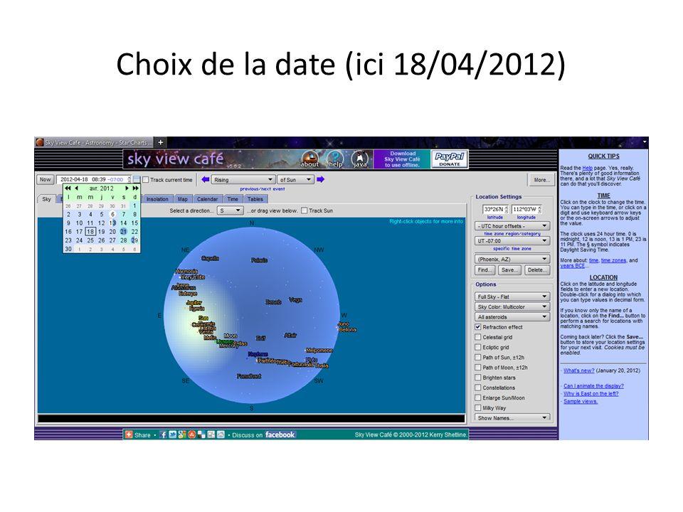 Choix de la date (ici 18/04/2012)