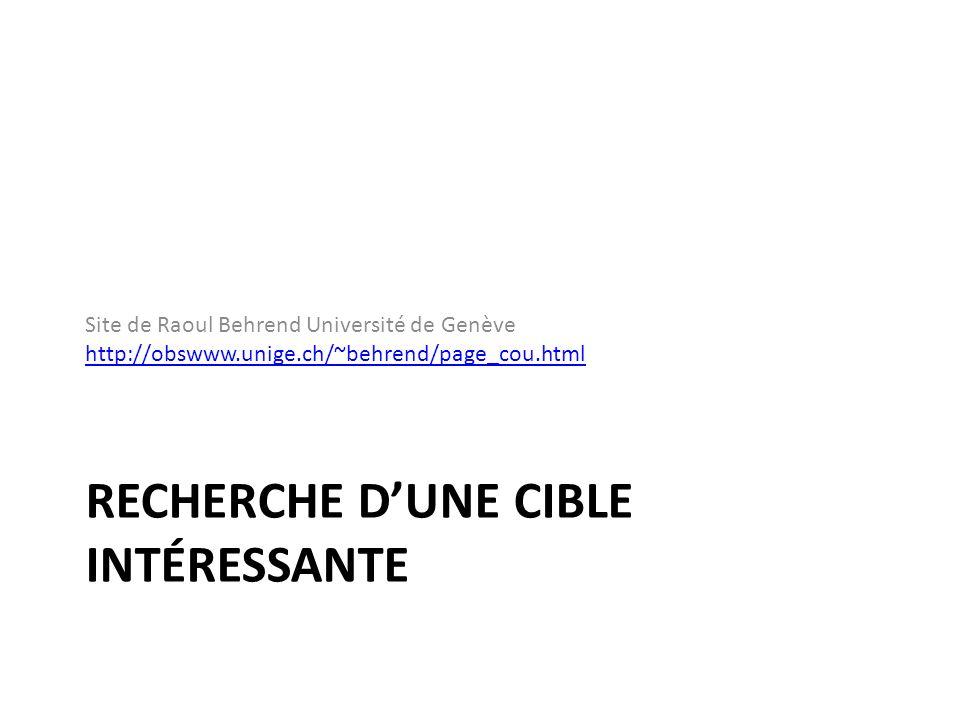 RECHERCHE DUNE CIBLE INTÉRESSANTE Site de Raoul Behrend Université de Genève http://obswww.unige.ch/~behrend/page_cou.html