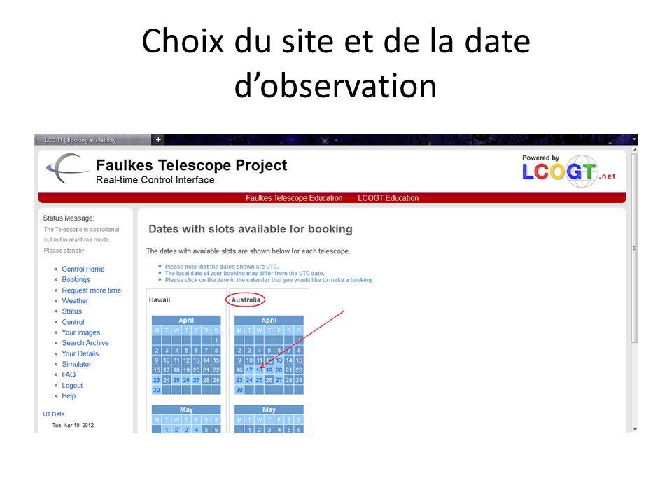 Choix du site et de la date dobservation