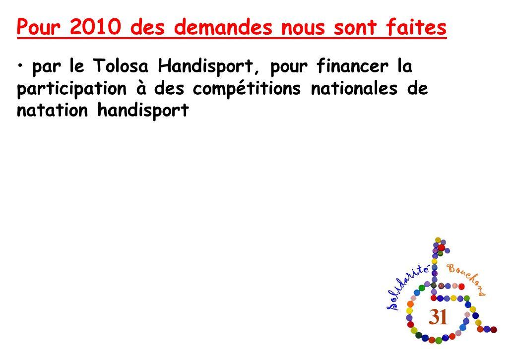 Pour 2010 des demandes nous sont faites par le Tolosa Handisport, pour financer la participation à des compétitions nationales de natation handisport