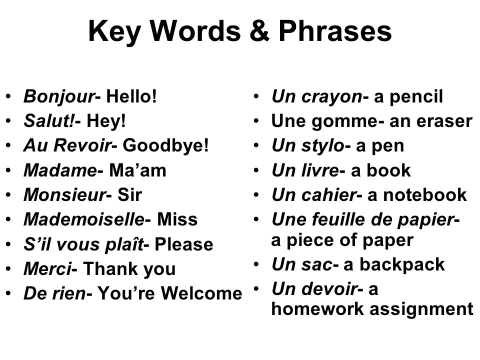 Key Words & Phrases Bonjour- Hello.Salut!- Hey. Au Revoir- Goodbye.