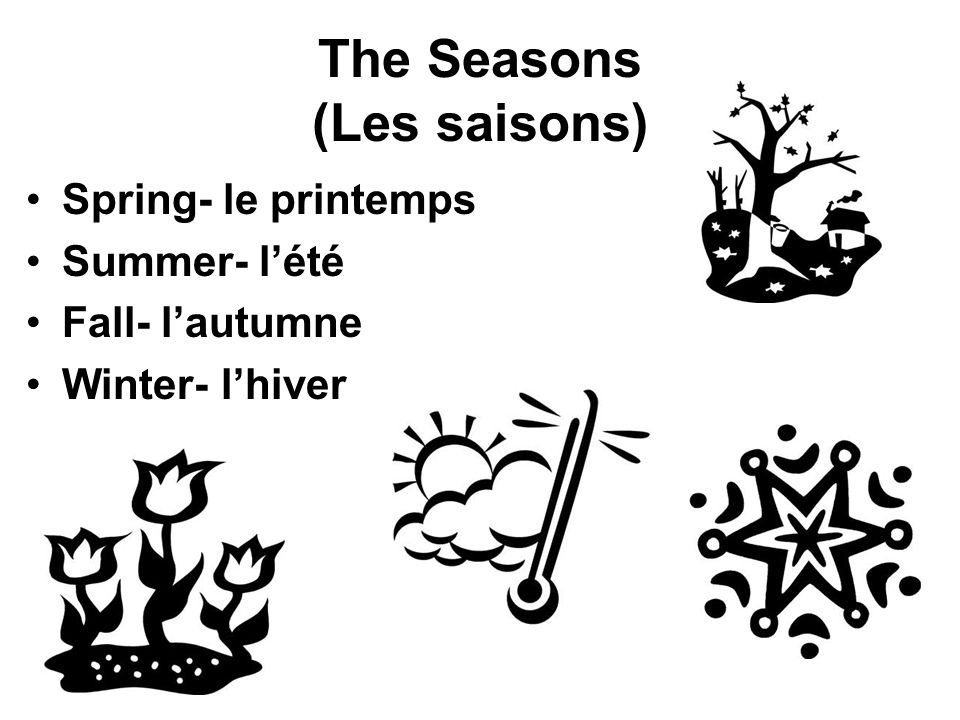 The Seasons (Les saisons) Spring- le printemps Summer- lété Fall- lautumne Winter- lhiver