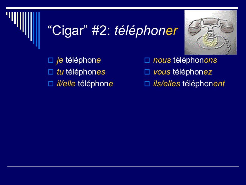 Cigar #1: parler je parle tu parles il/elle parle Nous parlons Vous parlez Ils/elles parlent
