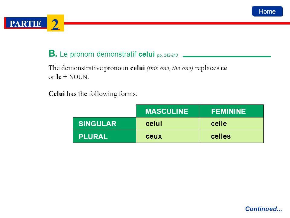 Home PARTIE 2 B. Le pronom demonstratif celui pp. 242-243 Continued... The demonstrative pronoun celui (this one, the one) replaces ce or le + NOUN. C