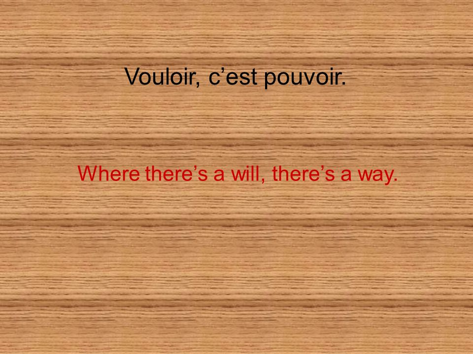 Vouloir, cest pouvoir. Where theres a will, theres a way.