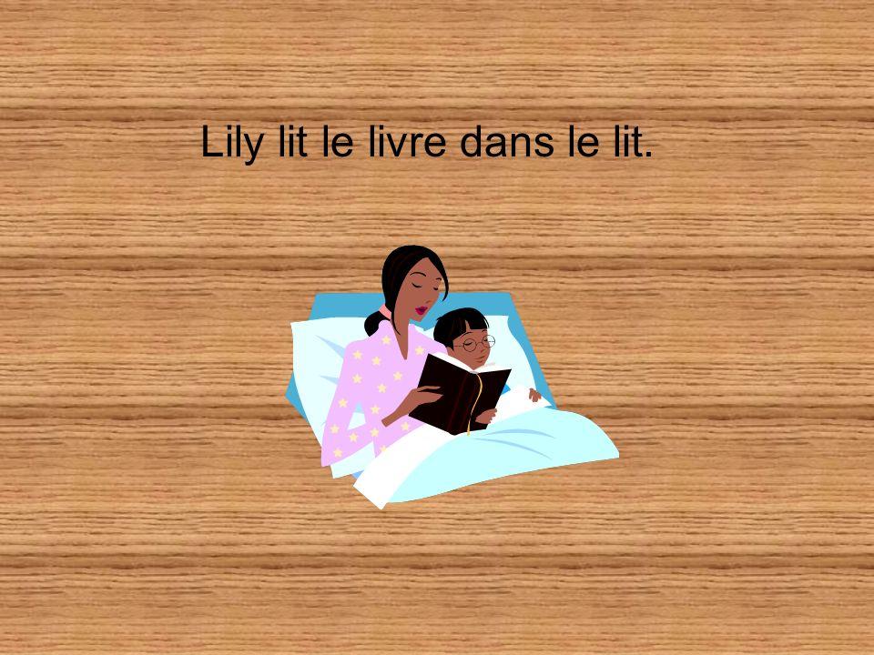 Lily lit le livre dans le lit.