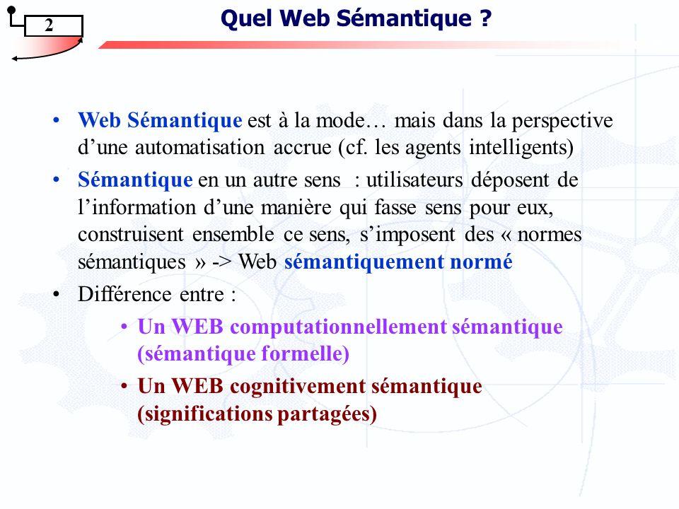 Jean Caussanel – Jean-Pierre Cahier Manuel Zacklad – Jean Charlet Les Topic Maps sont-ils un bon candidat pour lingénierie du Web Sémantique