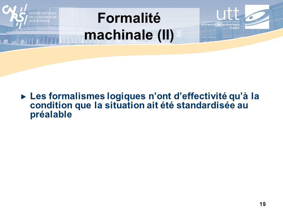 19 Formalité machinale (II) Les formalismes logiques nont deffectivité quà la condition que la situation ait été standardisée au préalable