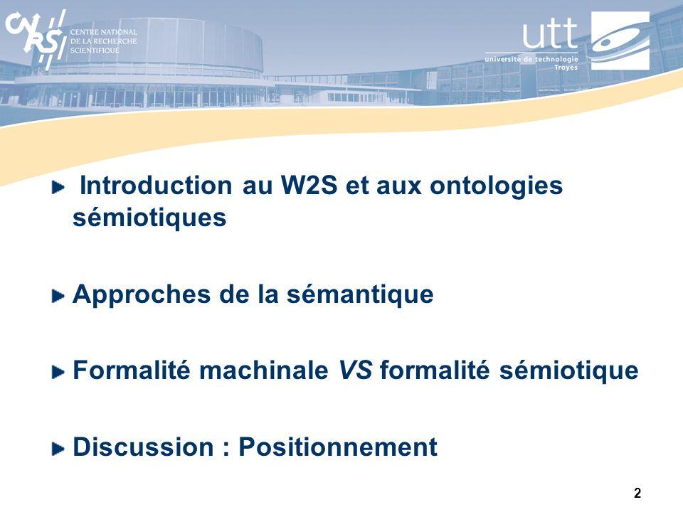 2 Introduction au W2S et aux ontologies sémiotiques Approches de la sémantique Formalité machinale VS formalité sémiotique Discussion : Positionnement