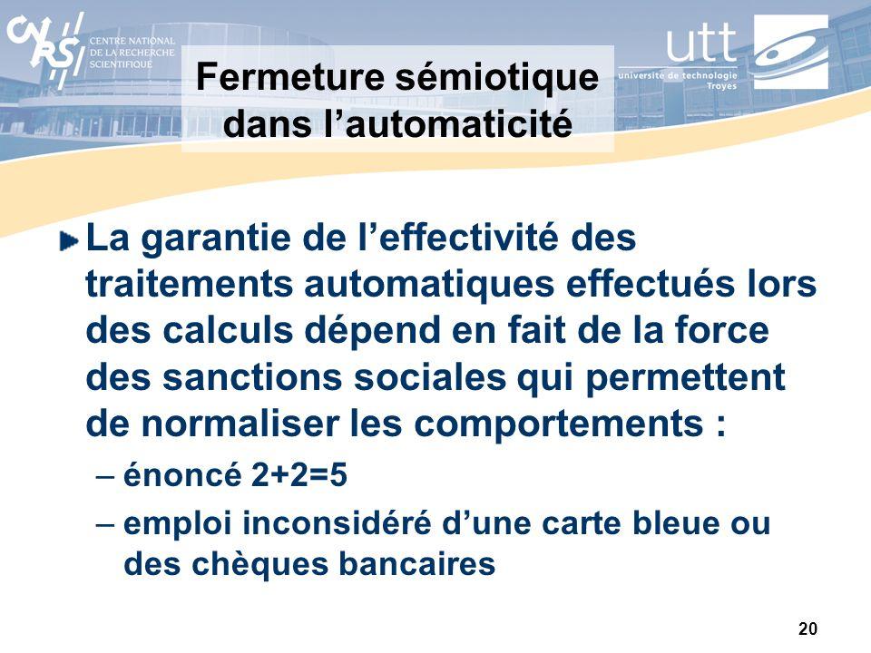 20 Fermeture sémiotique dans lautomaticité La garantie de leffectivité des traitements automatiques effectués lors des calculs dépend en fait de la fo