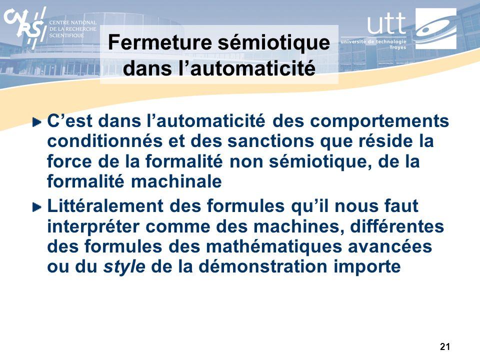 21 Fermeture sémiotique dans lautomaticité Cest dans lautomaticité des comportements conditionnés et des sanctions que réside la force de la formalité