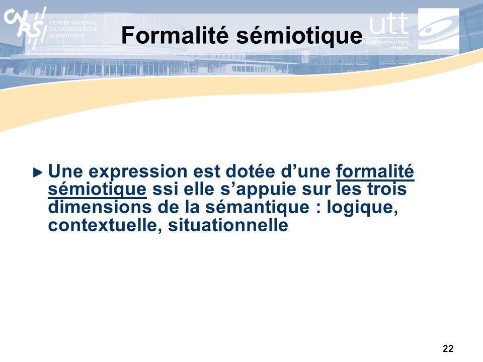 22 Formalité sémiotique Une expression est dotée dune formalité sémiotique ssi elle sappuie sur les trois dimensions de la sémantique : logique, conte
