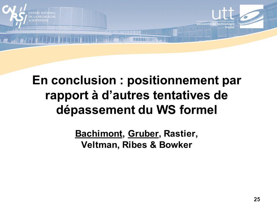 25 En conclusion : positionnement par rapport à dautres tentatives de dépassement du WS formel Bachimont, Gruber, Rastier, Veltman, Ribes & Bowker