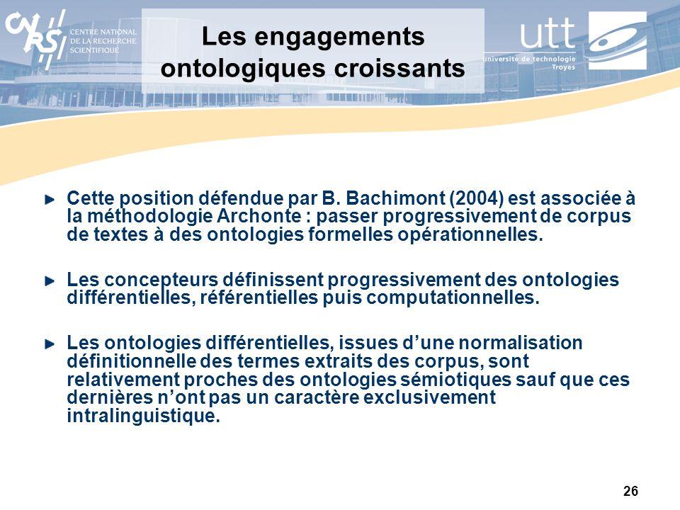 26 Les engagements ontologiques croissants Cette position défendue par B. Bachimont (2004) est associée à la méthodologie Archonte : passer progressiv