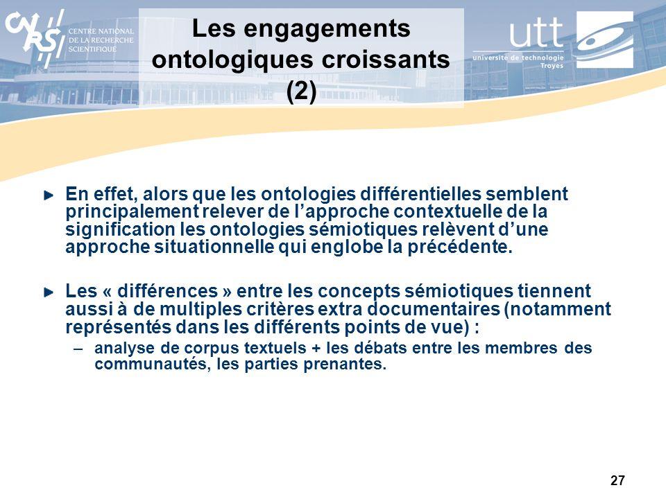 27 Les engagements ontologiques croissants (2) En effet, alors que les ontologies différentielles semblent principalement relever de lapproche context
