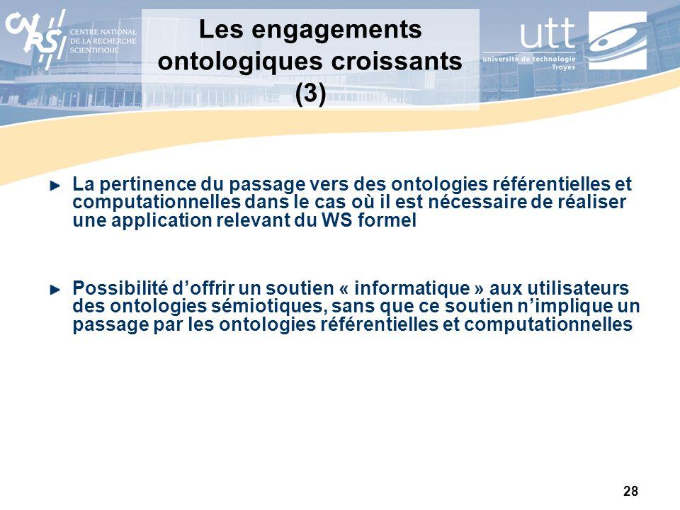 28 Les engagements ontologiques croissants (3) La pertinence du passage vers des ontologies référentielles et computationnelles dans le cas où il est