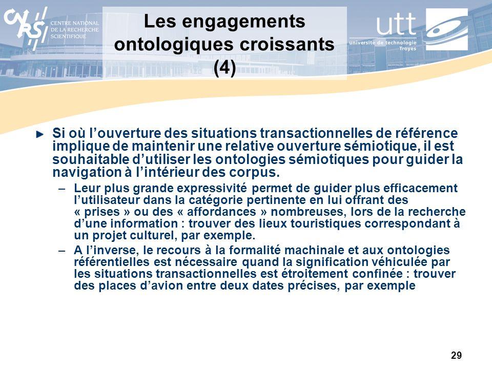 29 Les engagements ontologiques croissants (4) Si où louverture des situations transactionnelles de référence implique de maintenir une relative ouver