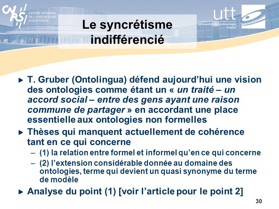 30 Le syncrétisme indifférencié T. Gruber (Ontolingua) défend aujourdhui une vision des ontologies comme étant un « un traité – un accord social – ent