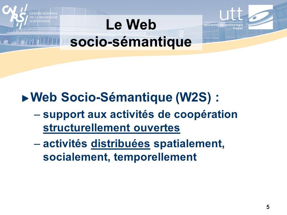 5 Le Web socio-sémantique Web Socio-Sémantique (W2S) : –support aux activités de coopération structurellement ouvertes –activités distribuées spatiale