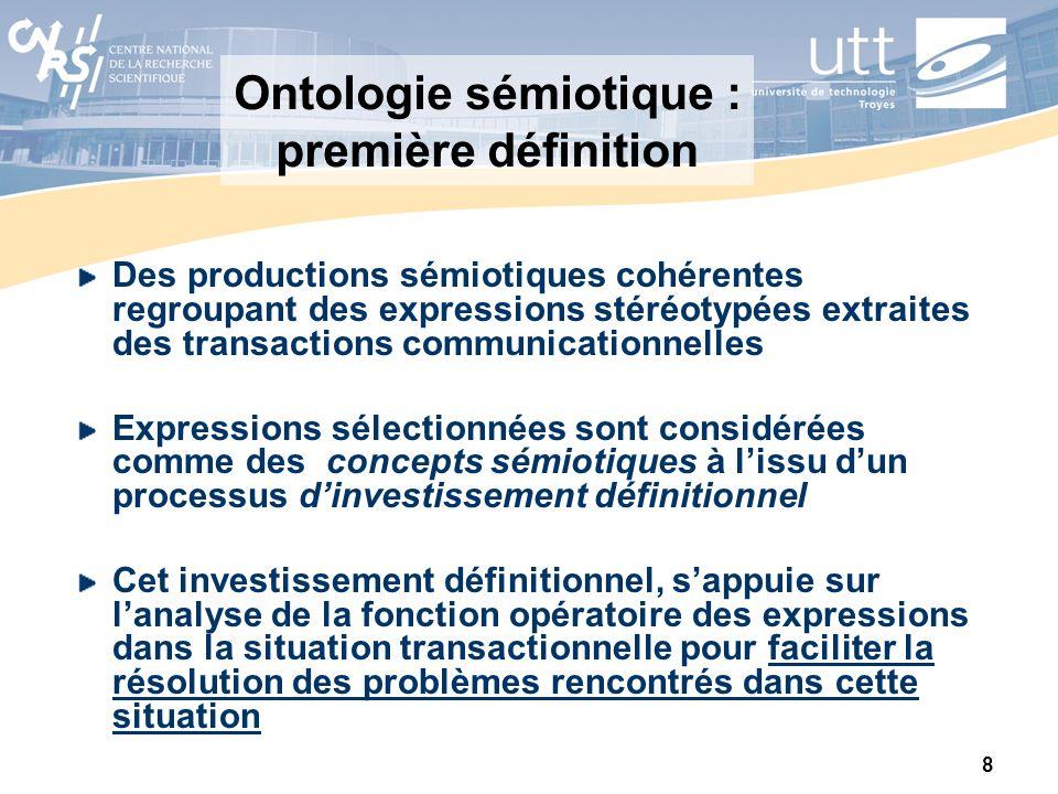 8 Ontologie sémiotique : première définition Des productions sémiotiques cohérentes regroupant des expressions stéréotypées extraites des transactions