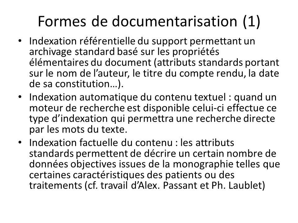 Formes de documentarisation (1) Indexation référentielle du support permettant un archivage standard basé sur les propriétés élémentaires du document (attributs standards portant sur le nom de lauteur, le titre du compte rendu, la date de sa constitution…).