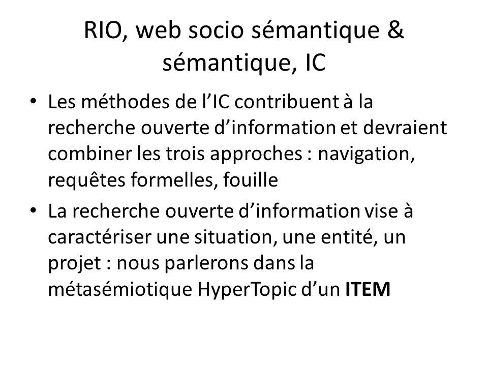RIO, web socio sémantique & sémantique, IC Les méthodes de lIC contribuent à la recherche ouverte dinformation et devraient combiner les trois approch