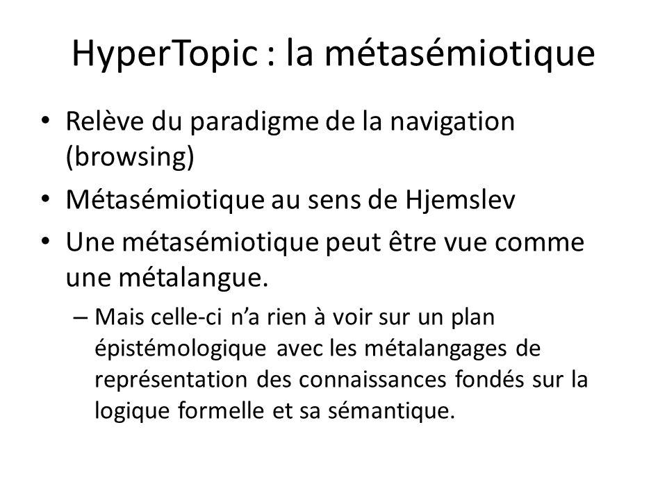 HyperTopic : la métasémiotique Relève du paradigme de la navigation (browsing) Métasémiotique au sens de Hjemslev Une métasémiotique peut être vue com