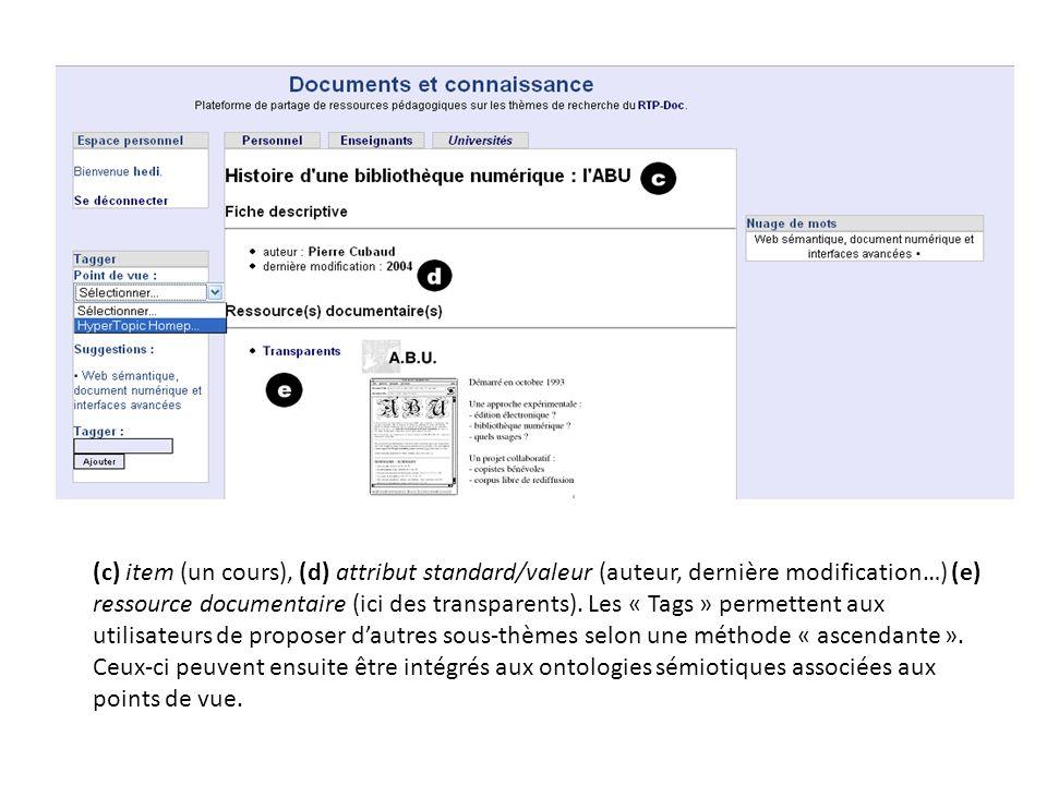 (c) item (un cours), (d) attribut standard/valeur (auteur, dernière modification…) (e) ressource documentaire (ici des transparents). Les « Tags » per