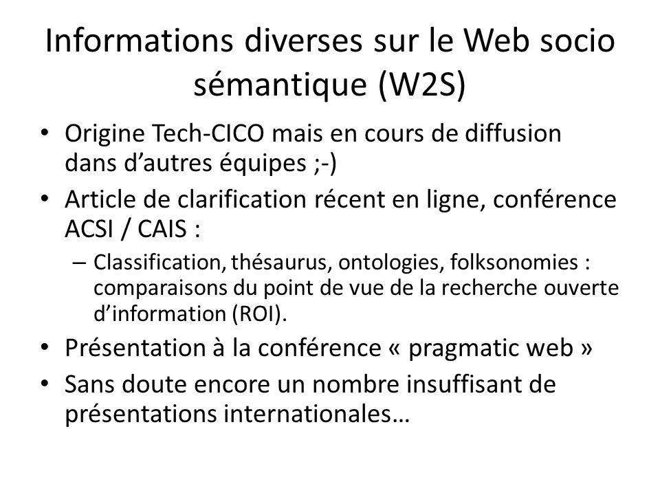 Informations diverses sur le Web socio sémantique (W2S) Origine Tech-CICO mais en cours de diffusion dans dautres équipes ;-) Article de clarification