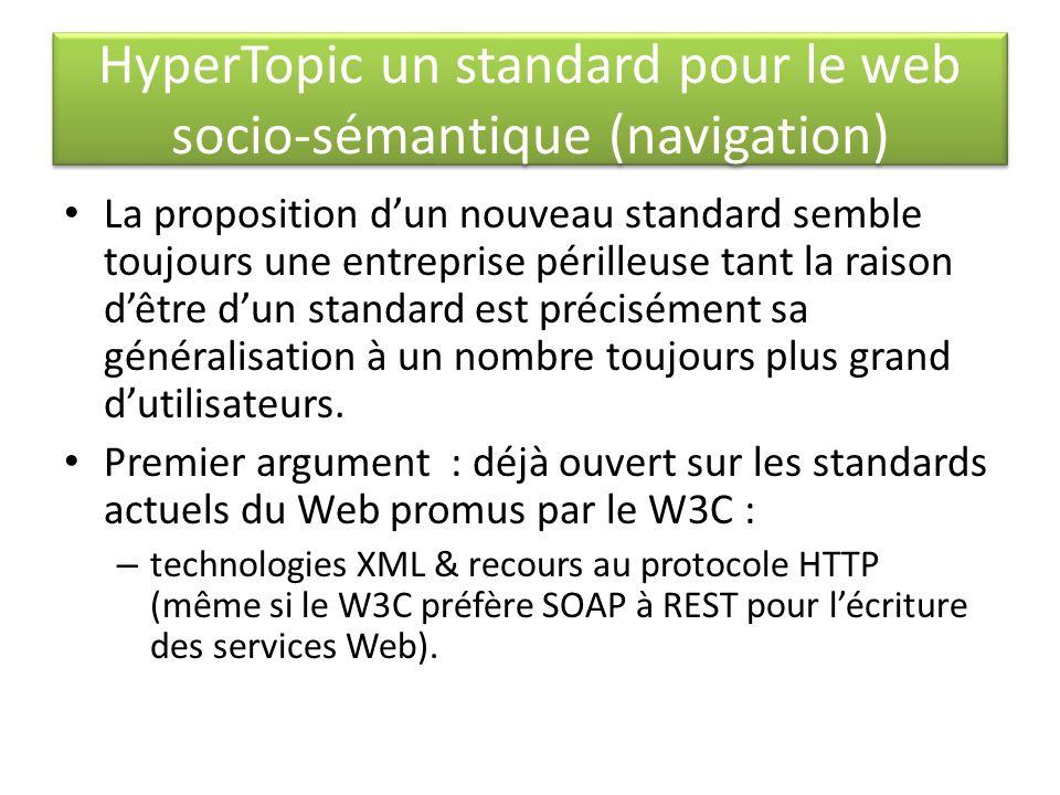 HyperTopic un standard pour le web socio-sémantique (navigation) La proposition dun nouveau standard semble toujours une entreprise périlleuse tant la