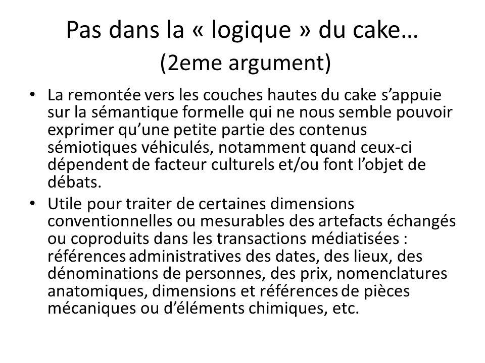 Pas dans la « logique » du cake… (2eme argument) La remontée vers les couches hautes du cake sappuie sur la sémantique formelle qui ne nous semble pou